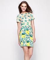 S-XXL Elegant Printed Dress Women Lady Slim Casual Dress Office Career Work Dress 2014 New Fashion Summer Autumn C9ML127