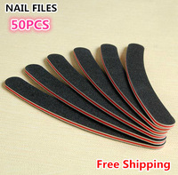 50pcs/Packed Professional Nail Files Buffer Buffing Slim Crescent Grit 100/180 Sandpaper Black Curved Double Sides Manicure Tool