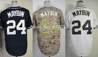 San Diego #24 Cameron Maybin Men's Authentic Cool Base Alternate Navy/Alternate Camo/Home White Baseball Jersey