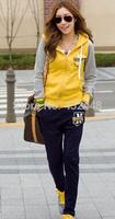 2014 New fashion Women sport suit long sleeve hoodie Casual clothes 2pcs set thin coat + pants 7color