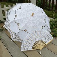 "2014 New 30"" Handmade Embroidered  battenburg Lace Parasol Sun Umbrella +Lace Fan Wedding Bridal Party Decoration Free Shipping"