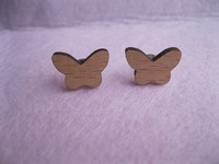 Butterfly natural color wood material Stud Post Earrings.