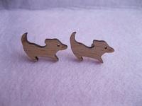 Dog Stud Earrings laser cut Handmade Gift