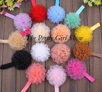 New Fashion Baby Grils Organza Ruffled Flower Headbands Infant Toddler Baby Elastic Headbands Photo Props 60PCS/LOT