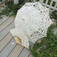 Ivory Handmade Embroidered  battenburg Full Lace Parasol bridal fan and umbrella Wedding Bridal Party Decoration Free Shipping