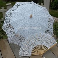 White Handmade Embroidered  battenburg Full Lace Parasol Sun Umbrella +Lace Fan Wedding Bridal Party Decoration Free Shipping