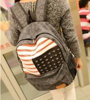 Cool Heavy Metal Rock Punk Style Shoulders Bag Women Men Unisex Rucksacks Rivets Stars USA National Flag Canvas School Backpacks