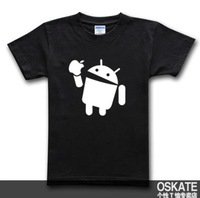 Yun Fei Anzhuo eat canned apple free Android creative spoof brother big yards short sleeve cotton T-shirt