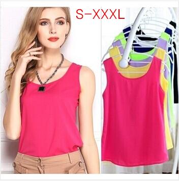2015 Fashion Summer Women's Clothes Chiffon Tops Sleeveless Causal Chiffon blouse Sundress 16 color,Free Drop Shipping W00100(China (Mainland))