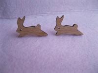 laser cut jumping bonny rabbit stud earring