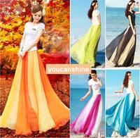 1pc Fashion New Casual Summer Womens 2 Layer Pleated Retro Maxi Patchwork Stripe Beach Boho Long Elastic Waist Skirt