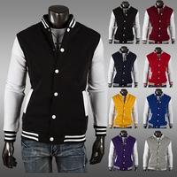 Men's eight-color classic baseball jersey cardigan jacket Slim Short baseball brushed sweater free shipping