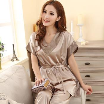 Лето 2014 женский сексуальное шелковые пижамы комплект мода v-образным вырезом с ...