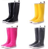 Beautiful black velvet gaotong male Women fashion rain boots rubber shoes rain shoes