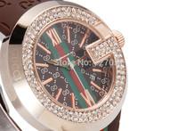 2015 New Fashion PU Leather Strap Dress Quartz Watch With Rhinestone Top Brand Luxury Watches For ladies Bracelet Watch