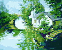 2014 new style digital painting by numbers handpainted canvas picture oil painting for living room home decor river town