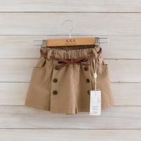 2014 New,girls fashion shorts,children summer pantskirt,button,sashes,2-8 yrs,5 pcs / lot,wholesale kids clothing,1530