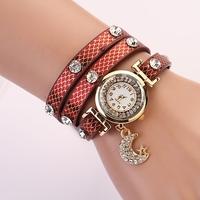 Koshi Newest Fashion Ladies moon pendant Crystal Rhinestone Watches Women Wristwatch free shipping XR227
