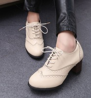 Women's ankle boots new high-heeled shoes lace round  retro British Wind carved Oxford shoes SIZE 35-39 S1064