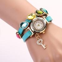 Koshi New Arrivals vintage leather beads watches, rhinestone women  key pandent fashion watch XR284