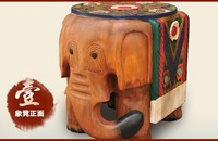 Woodcarving elephants stool Elephants in shoes of completely real wood stool Like a stool color log Lucky furnishing articles