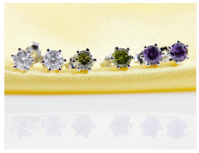 925 sterling silver Cupid cut crystal earrings for women men Unisex 2015 fashion stud earrings jewelry