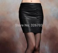 Free shipping autumn and winter Korean Women PU leather skirt step skirt skirt package hip skirt