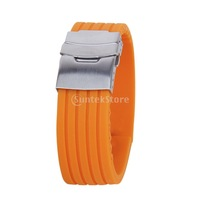 New 2014 Brand New  Orange Rubber Watch Strap Band Deployment Buckle Waterproof 24mm Free Shipping