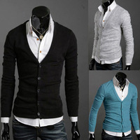 FreeShipping Stylish Men Slim Fit Cotton Knit Sweater Cardigan Button Deep V Neck Basic Coat QY3645