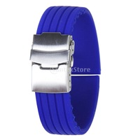High Fashion Beautiful 20mm Blue Rubber  Waterproof  Watch Strap Band Deployment Buckle