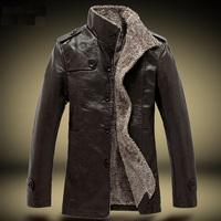 2014 New Fashion Winter Men'S Jacket Male Wild Warm Plus Velvet Outwear Men'S Brand Coat  Men'S Classic Leather Jackets XG50-114