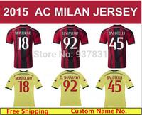 TOP Thai Quality AC Milan 14 15 Jersey KAKA Balotelli Shaarawy Robinho Abate  AC Milan 2015 Home  Away Yellow  Soccer Shirts
