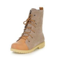 customized big size 34-43 plus US size 9 martin boots with patched PU laced-up short boots plus size boots