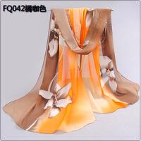 Long Chiffon Silk Scarf/1PC 50*160cm Floral Style Pretty Orchid Print scarf/WJ-282