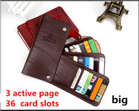 36 Slot 3 active page New 2015 fashion women & men short solid genuine leather cowhide credit cards holders carteira feminina 50