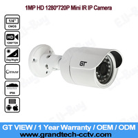 GT View Cheapest P2P 1280*720P HD 1.0MP Mini Bullet Security IP Camera Indoor/Outdoor IR Night Vision, POE Optional. GT-716
