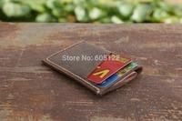 Distressed Leather Card Holder Business Trip Cash Wallets Ultra-Slim Groomsmen Gift Dark Brown-V008