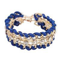 2014 New Fashion Handmade Braid Leather Star Rhinestone Leather Charm Bracelets Bangles for Women Ladies Free Shipping