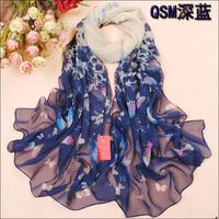 Long Chiffon Silk Scarf/1PC 50*160cm Fashion Design Flying Small butterfly print Scarf/WJ-284