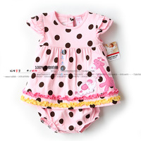 New fashion 2014 summer baby clothing child top dress+shorts sets baby girls polka dot clothing set kids casual clothes set