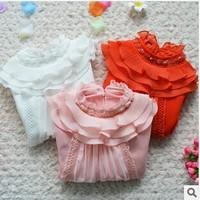 Korean 2014 Winter New Girls Turtleneck Plus velvet Thicken Bottoming Shirts 100% Cotton Lace long sleeve T shirt Basic Sweater