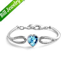 Free Shipping 2014 New Wholesale Lots High White Gold Plated Quality Fashion Women Heart Rhinestone Bracelets Jewelry