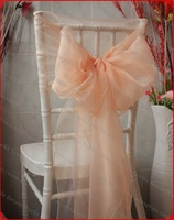 NO.36 Peach Pink Organza Chair Hoods/Chair Caps/Chair Cover Sash For Wedding Event&Party&Home&Banquet Decoration Textile
