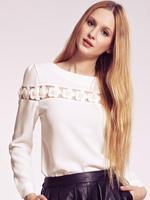 2014 Fall New England chest pearl flower round neck long-sleeved T-shirt women tops flowers BJ1446