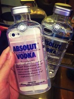 2014 Newest Fashion 3D Luxury Absolute Vodka Alcohol Bottle Transparent TPU Case Cover For Iphone 5 5S 5G 4 4S Free Shipping