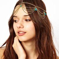 Bohemia Fashion Hair Chain HairBand Turquoise Tassel Multilayer  Ribbon Gold Wedding Headband Hair Accessories Jewelry For Women