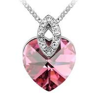 Peach heart crystal necklace austria crystal love heart necklace pendant female chain
