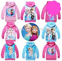 2014 Frozen algodón princesa de manga larga para Niños Hoodies para Niñas Niños Desgaste H