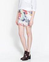 2014 New Women Fashion Flower Prints Mini Skirt Lady Pencil Skirt BJZARO1430