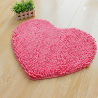 FREE SHIPPING Fluffy Bedroom Rug Carpet Floor RED/PINK Bath Mat Love Heart Doormat 45X60cm Chenille